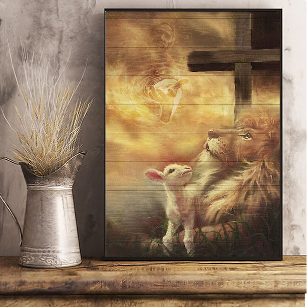 Jesus beautiful lion and lamb canvas large