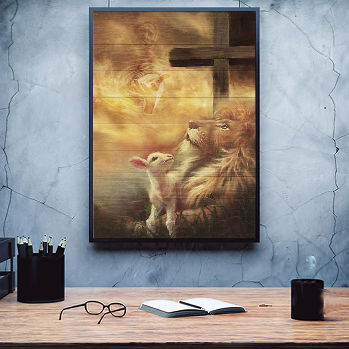 Jesus beautiful lion and lamb canvas medium