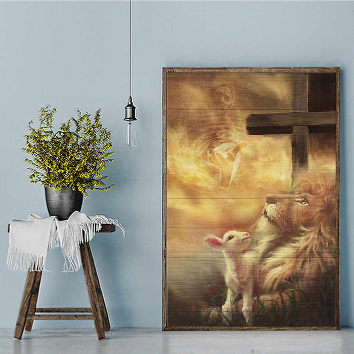 Jesus beautiful lion and lamb canvas small