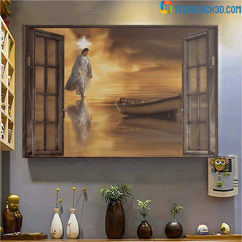 Jesus through the windows canvas medium