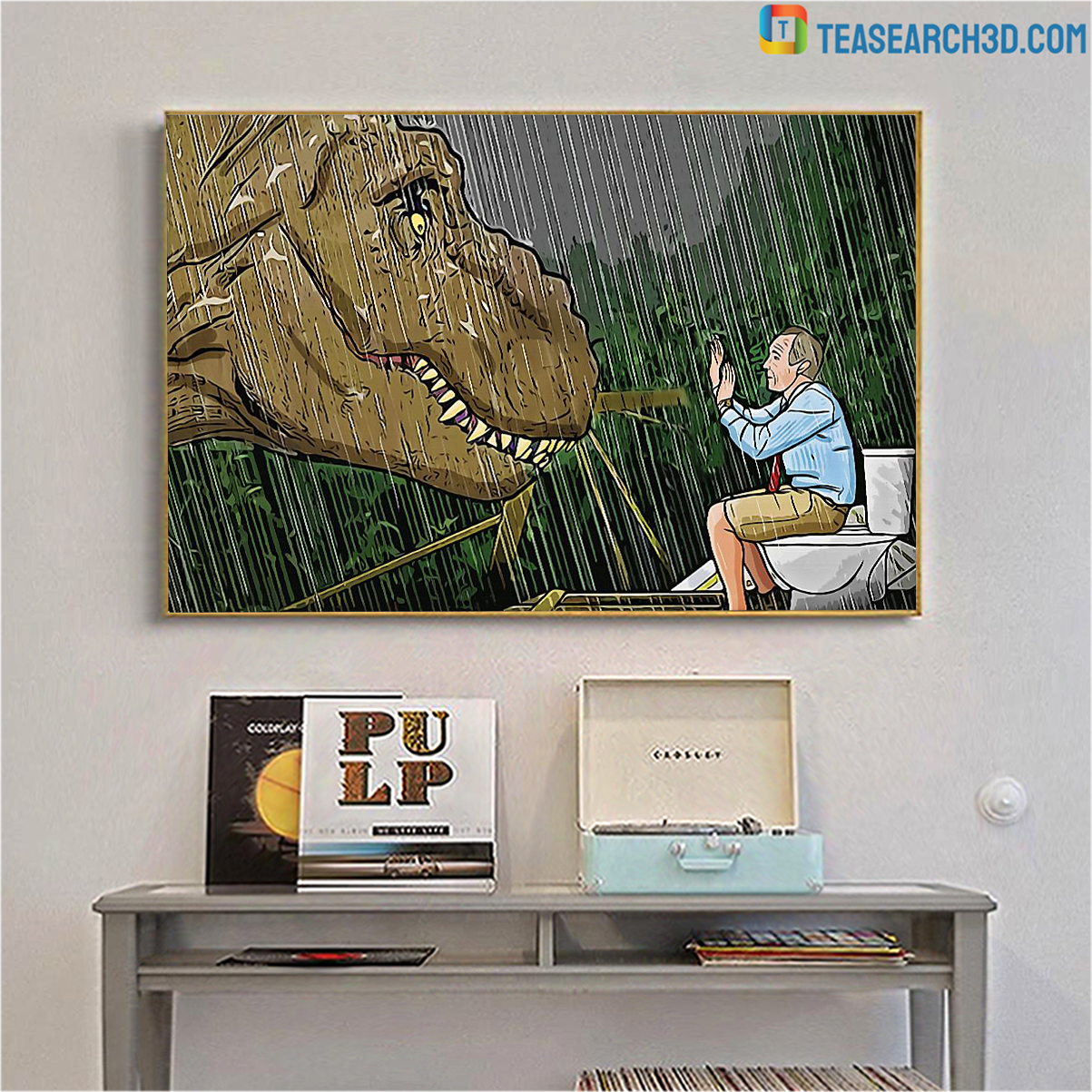 Jurassic park T-rex toilet scene canvas