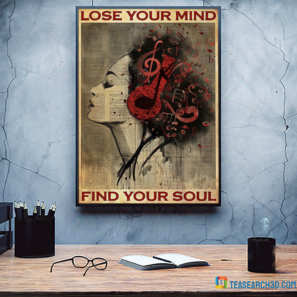 Lose your mind find your soul girl headphone poster