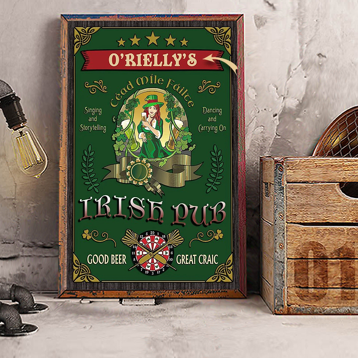 Personalized custom name beer girl Irish pub good beer great craic poster A1
