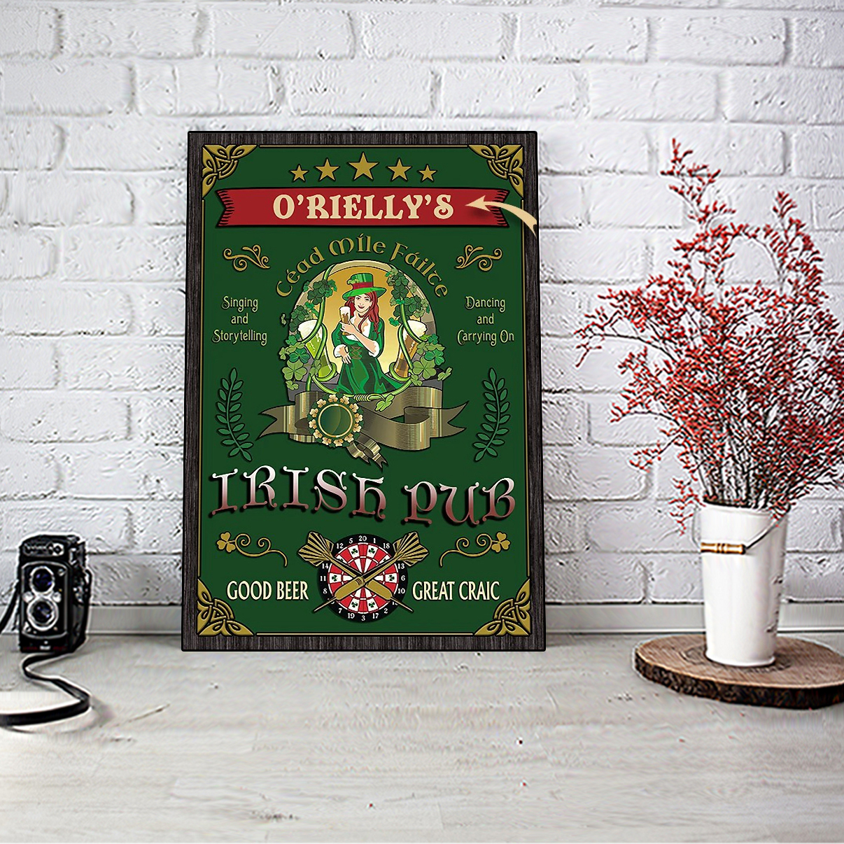 Personalized custom name beer girl Irish pub good beer great craic poster A2