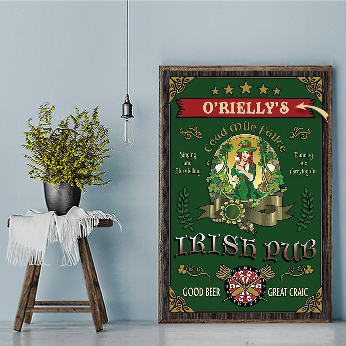 Personalized custom name beer girl Irish pub good beer great craic poster A3
