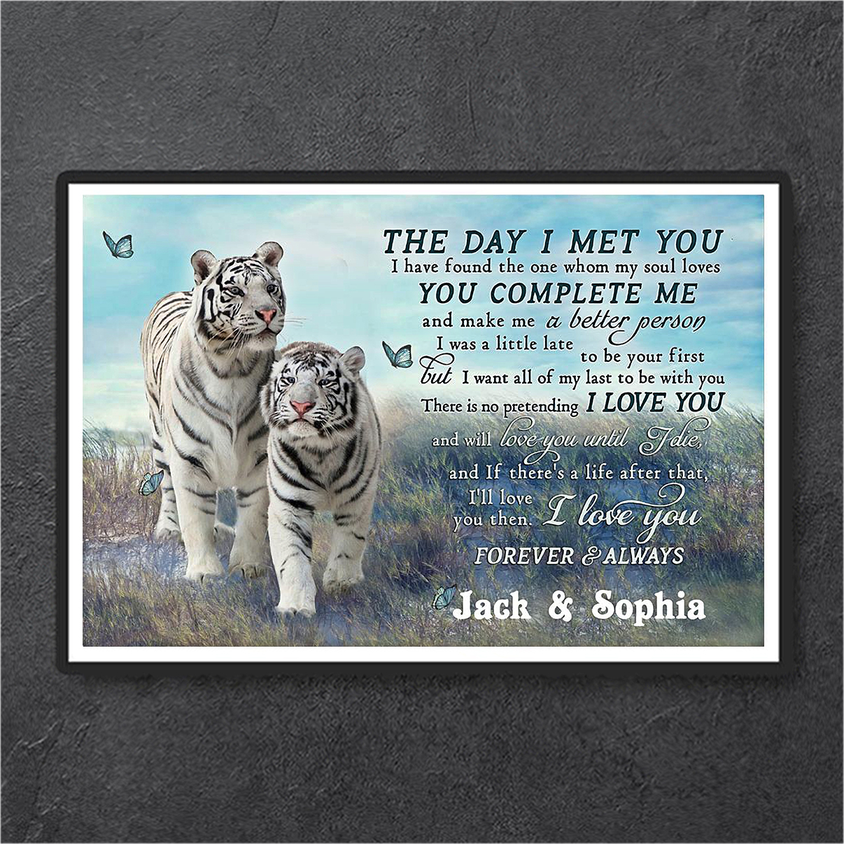 Personalized custom name tiger couple the day I met you poster