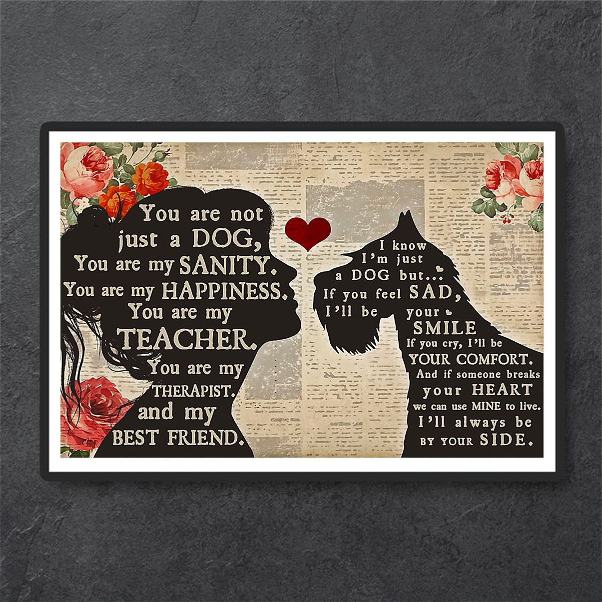 Schnauzer and girl best friend poster A1