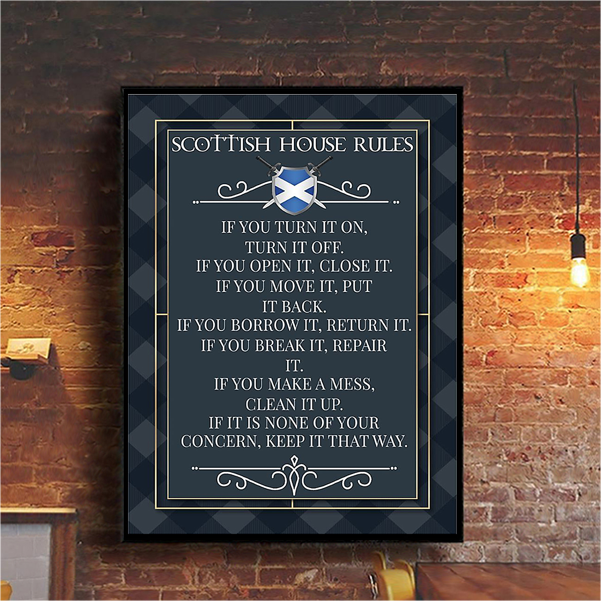 Scottish house rules poster A1
