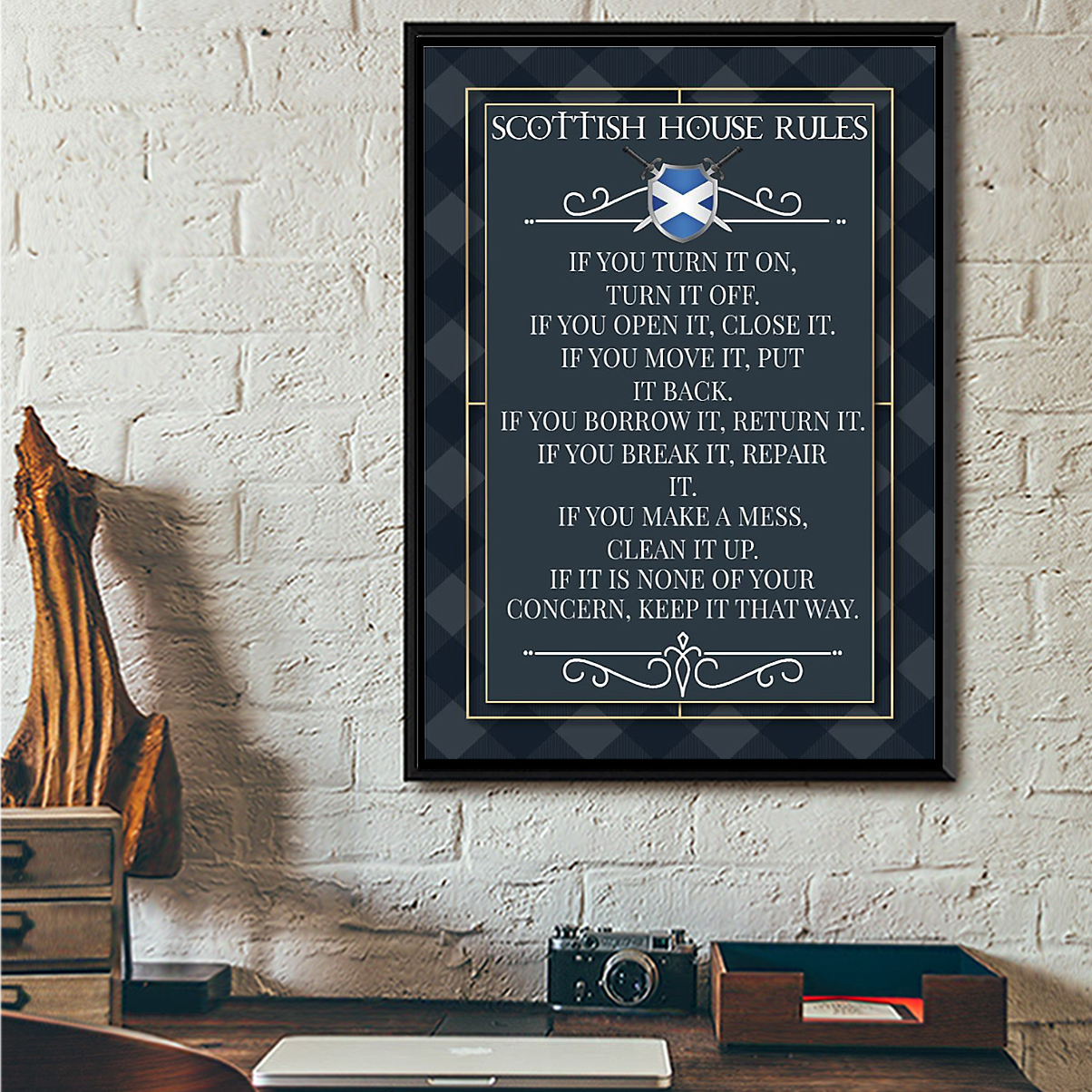 Scottish house rules poster A2