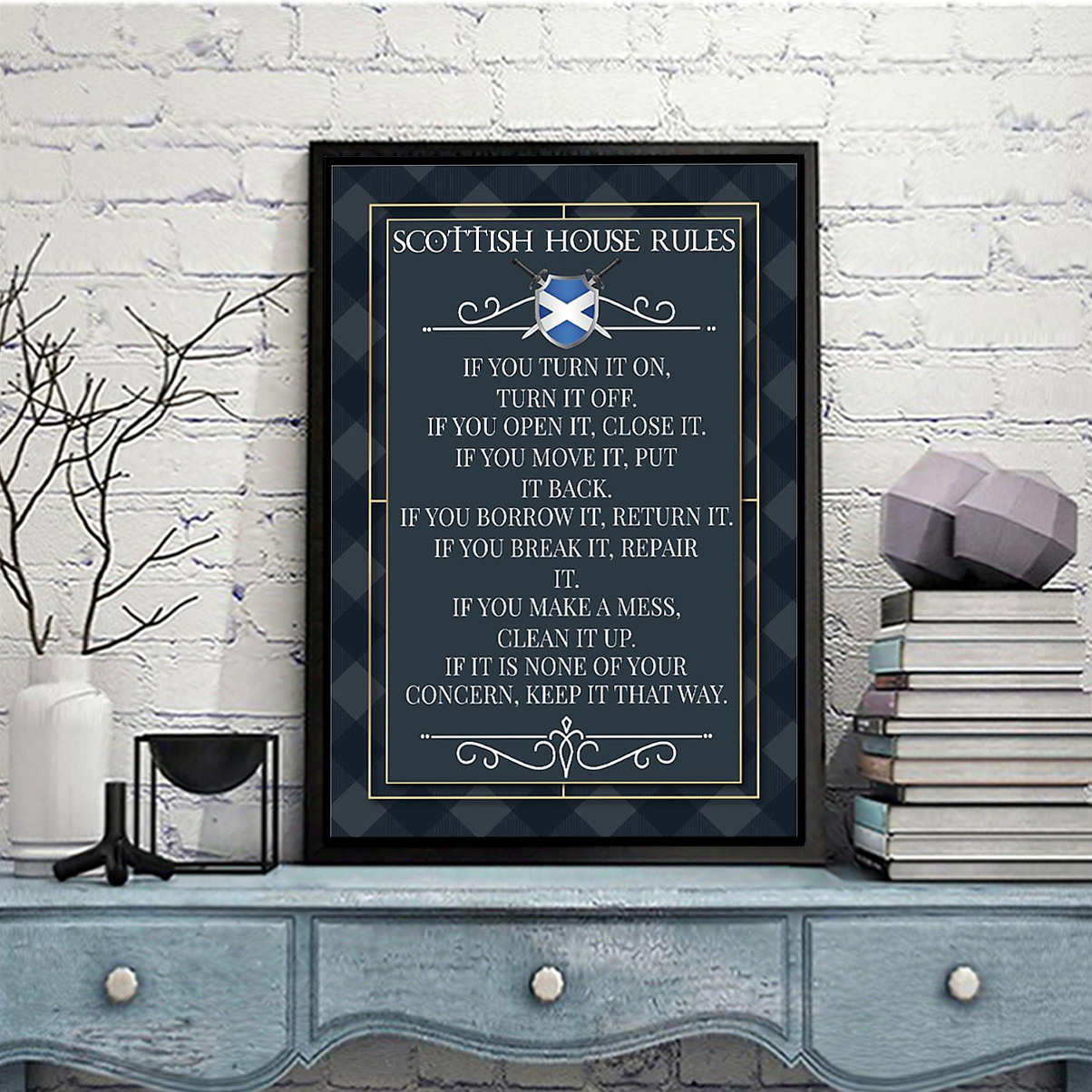 Scottish house rules poster A3