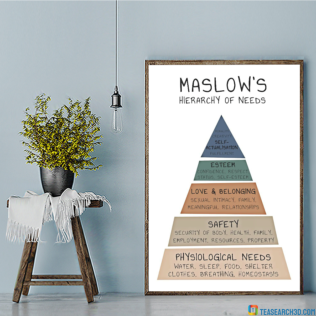 Social worker maslow's hierarchy of need vertical poster A1