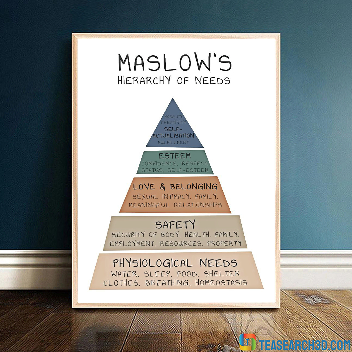 Social worker maslow's hierarchy of need vertical poster A4