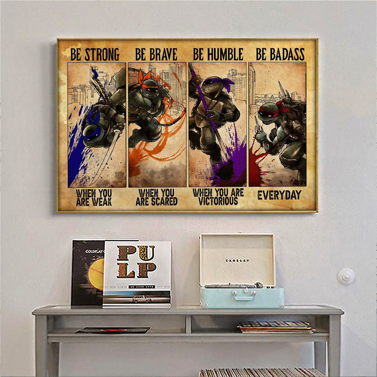 Teenage Mutant Ninja Turtles black be strong be brave be humble be badass poster A1