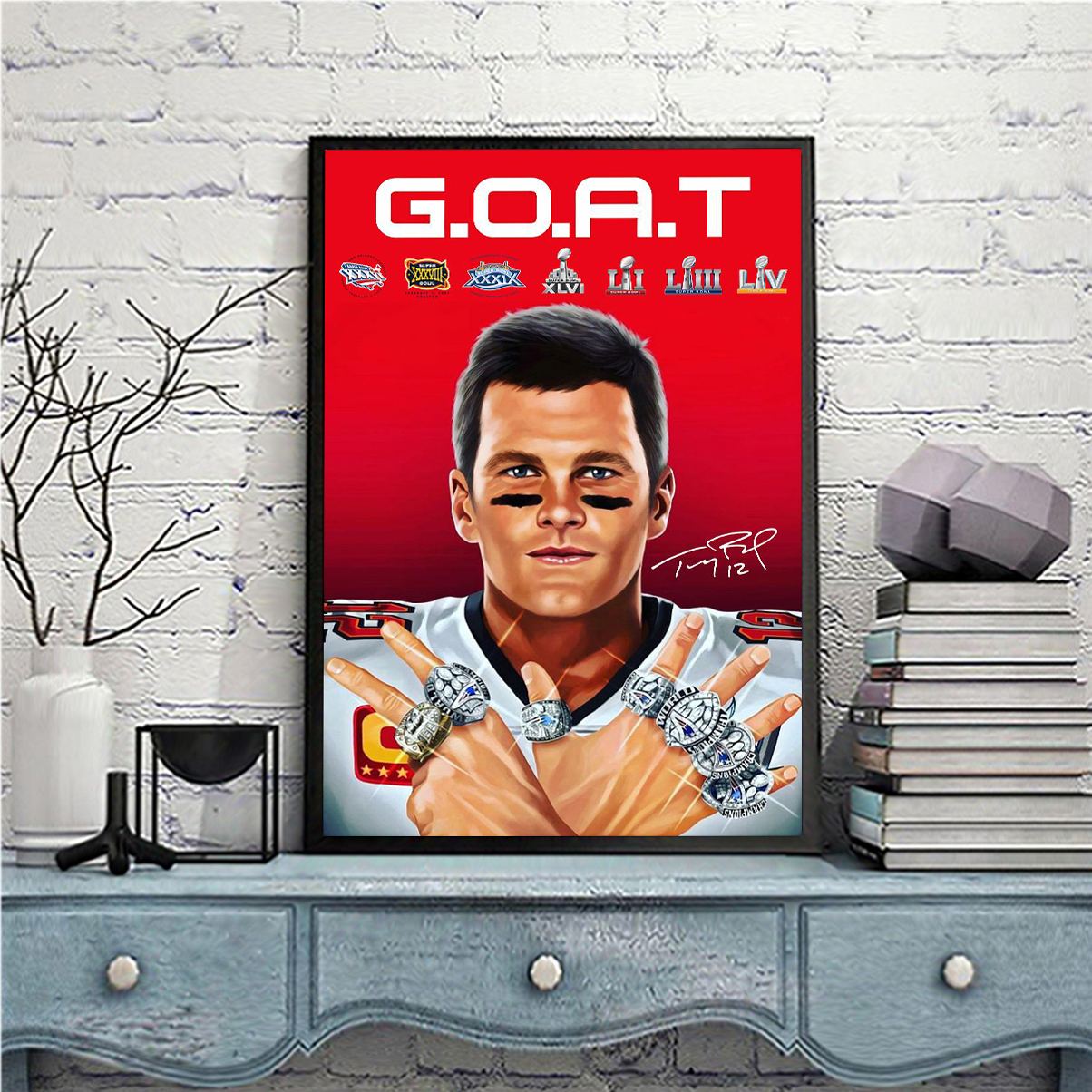 Tom Brady 2021 goat signature poster A3