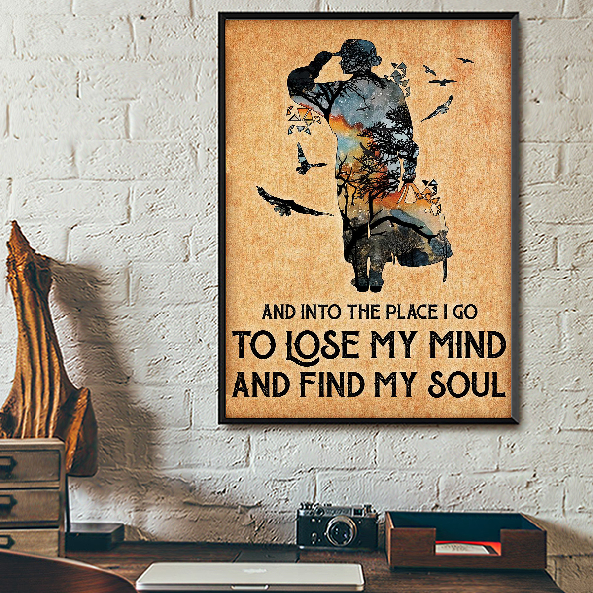 Veteran and into the place I go to lose my mind and find my soul poster A1