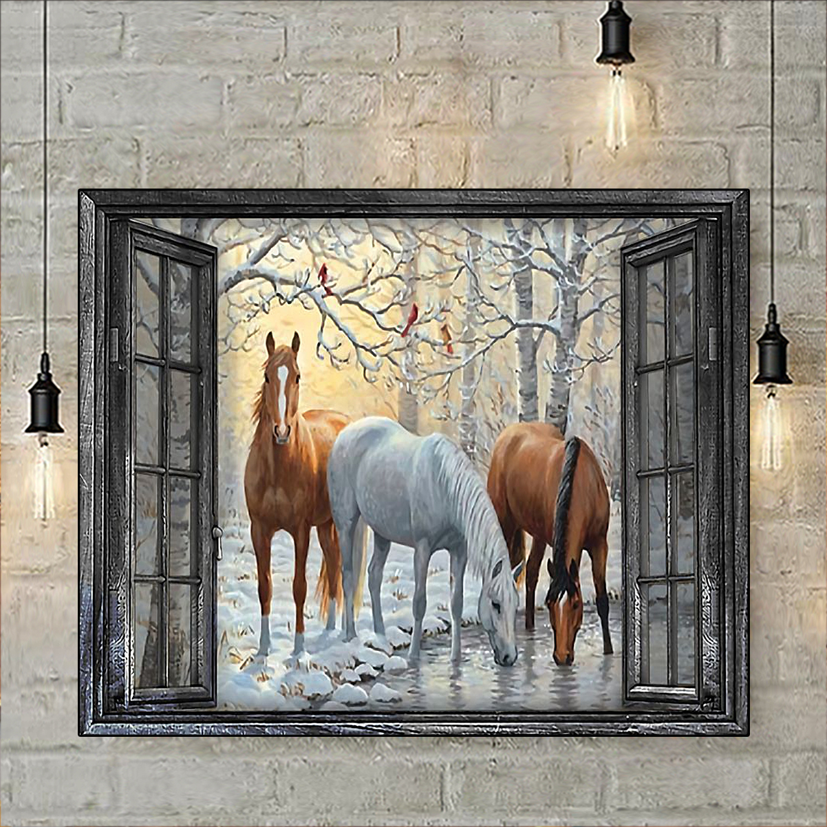 Window horse poster A3