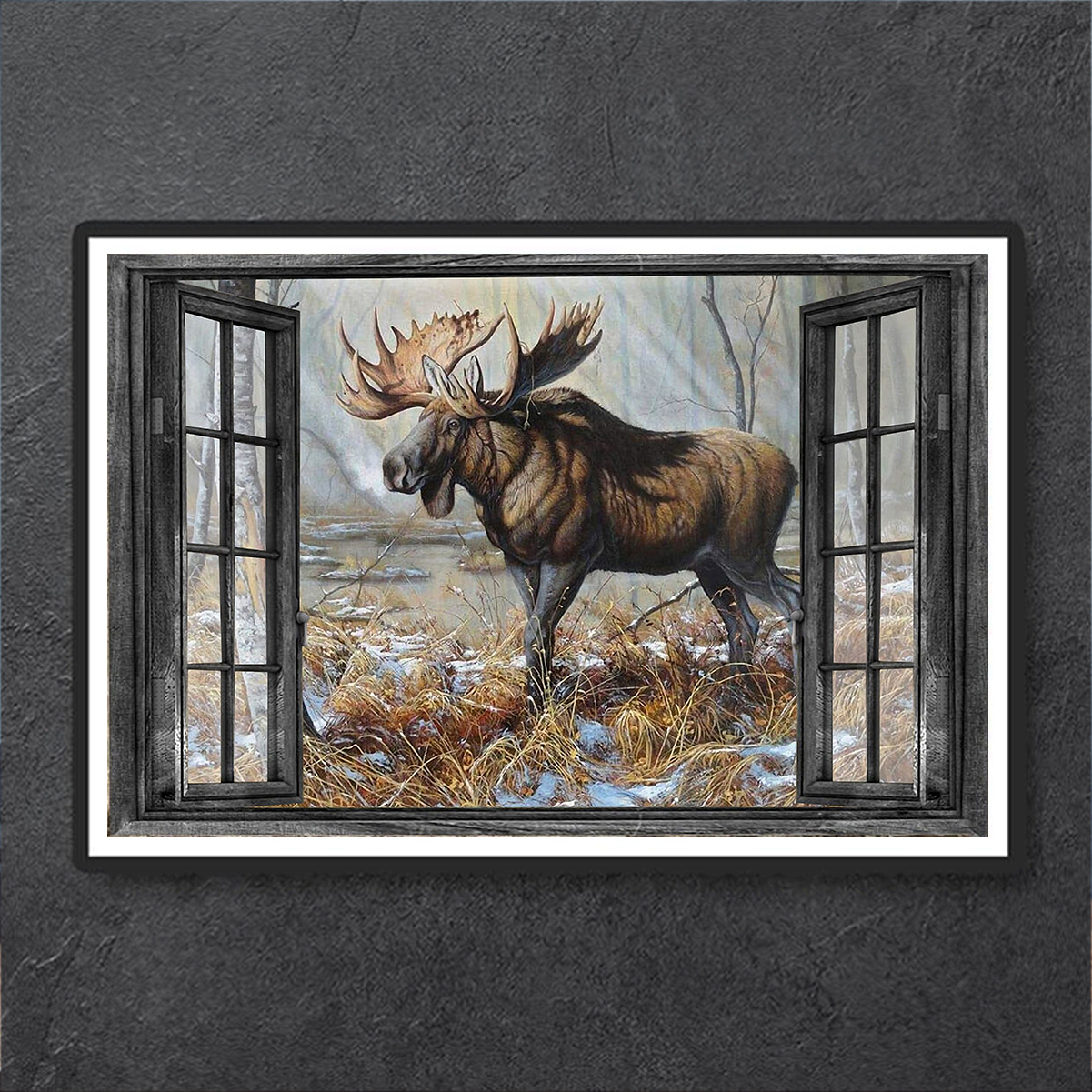 Window love moose hunting poster A1