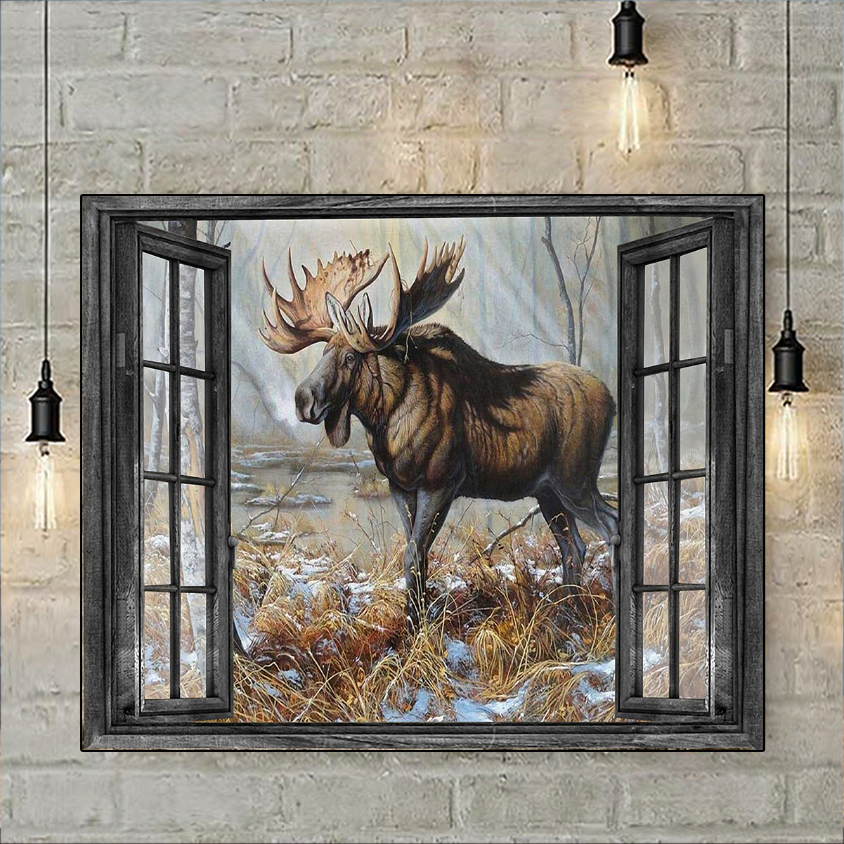 Window love moose hunting poster A3