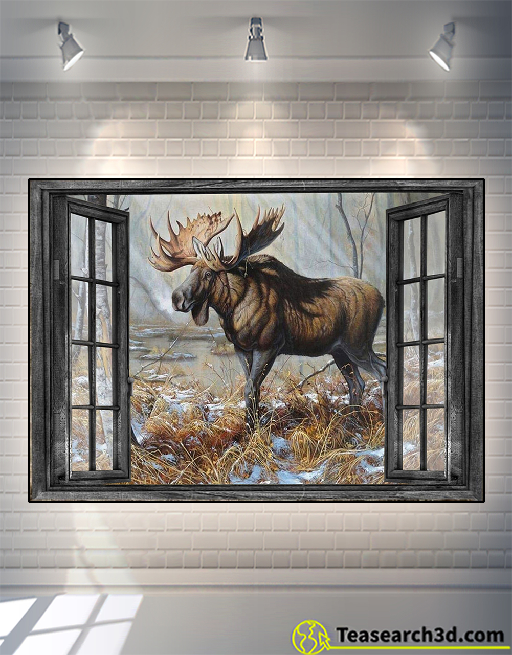 Window love moose hunting poster