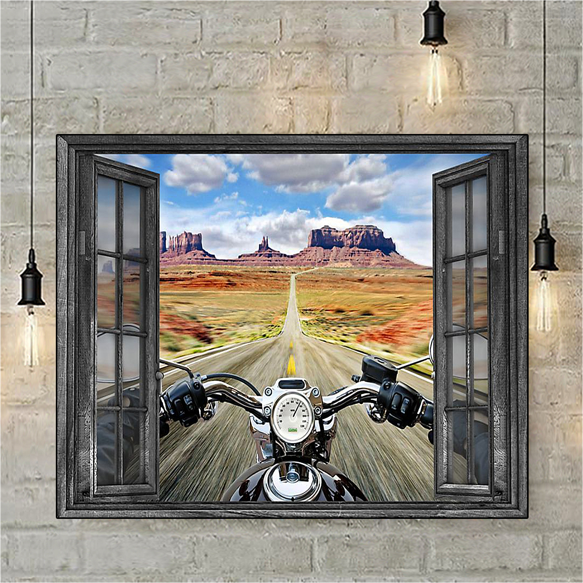 Window motorcycle poster A3