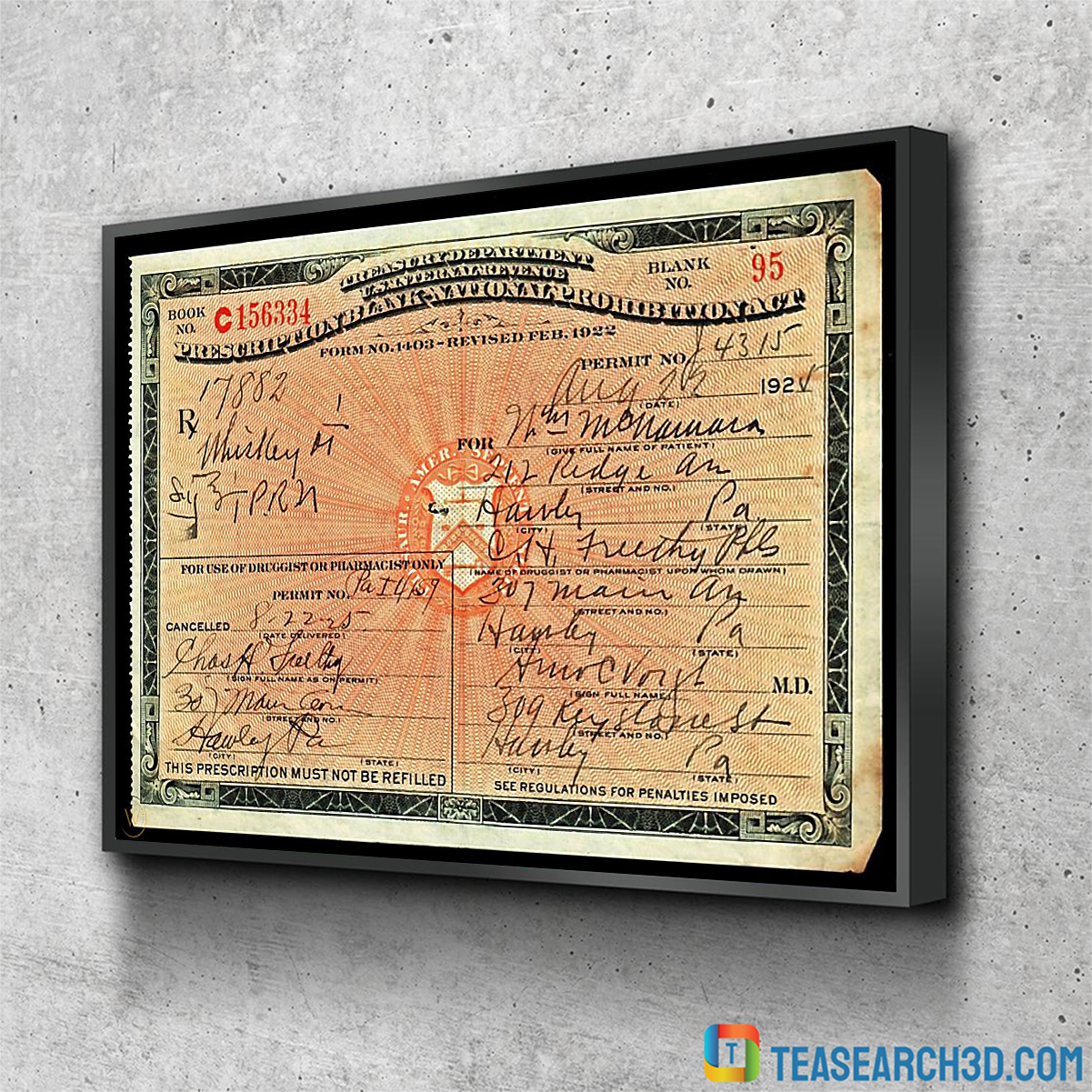 1924 prescription for whiskey during prohibition poster A2