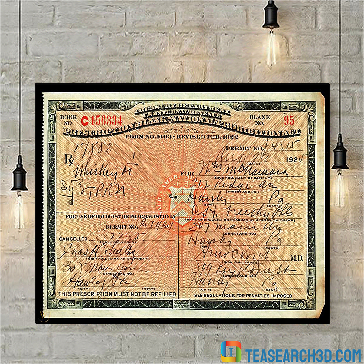 1924 prescription for whiskey during prohibition poster A3
