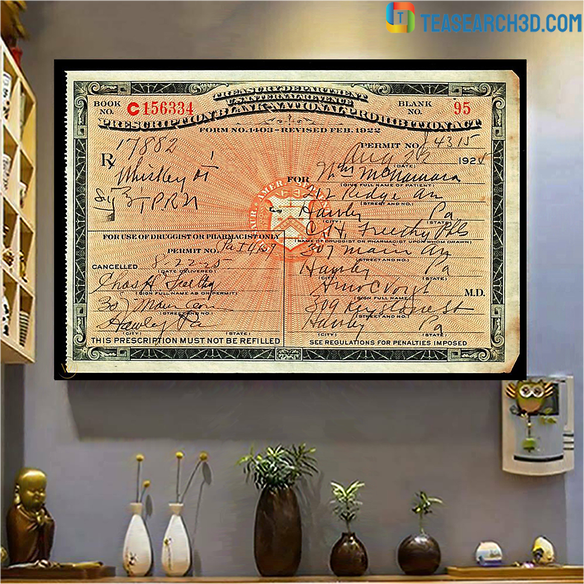 1924 prescription for whiskey during prohibition poster A4