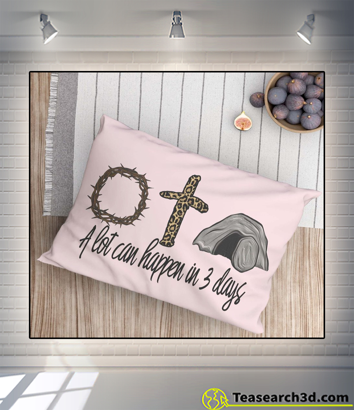 A lot can happen in 3 days jesus easter pillow pink