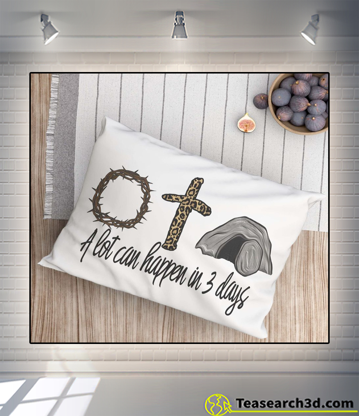 A lot can happen in 3 days jesus easter pillow white