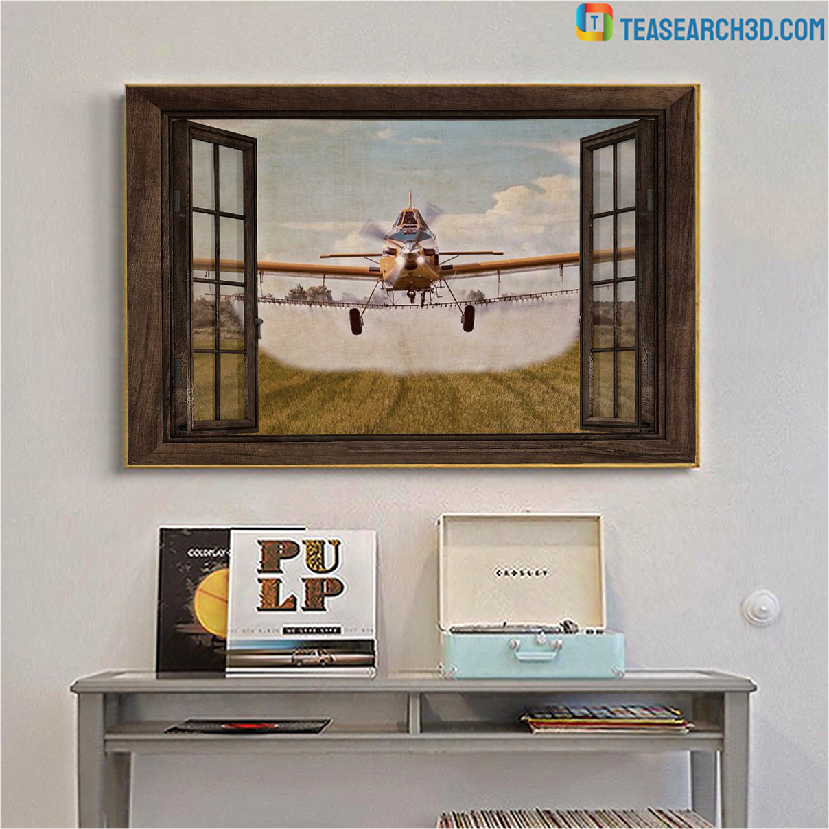 Agricultural aircraft window view poster A1