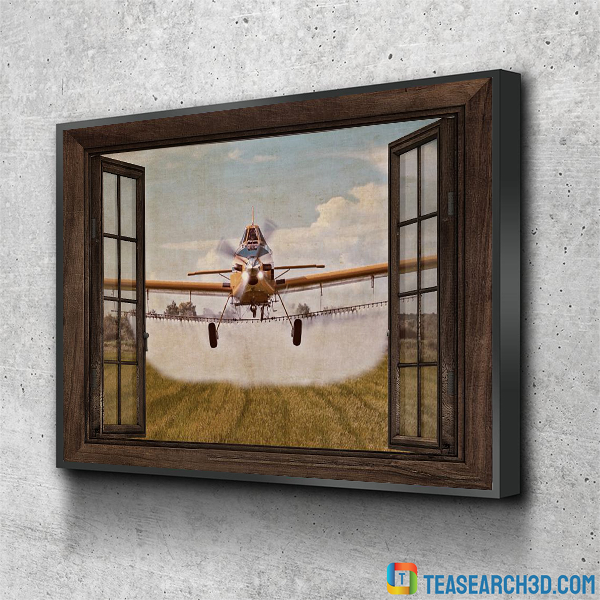 Agricultural aircraft window view poster A2