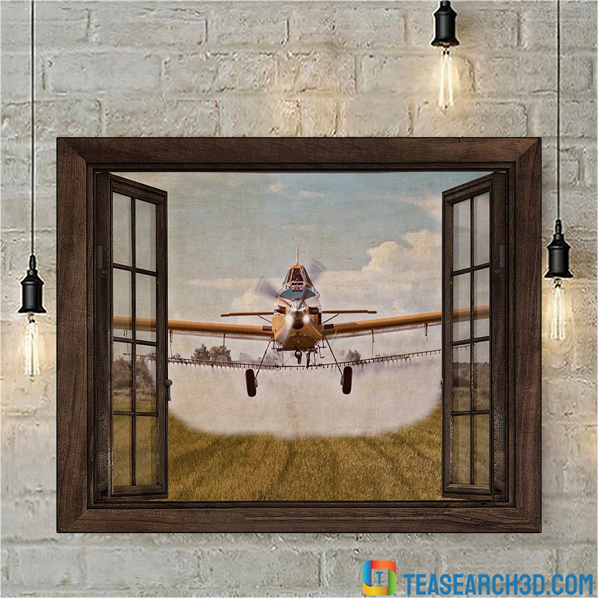 Agricultural aircraft window view poster A3