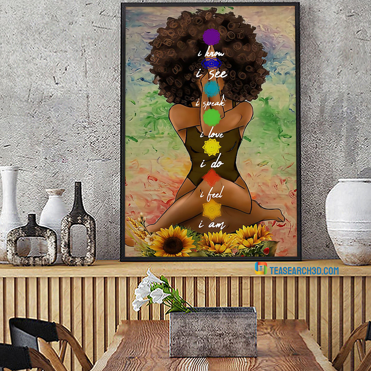 Yoga african american I know black girl poster