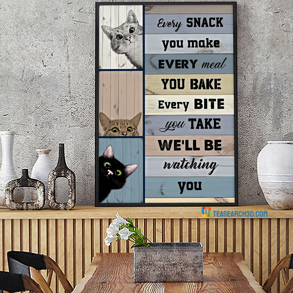Cats watching you poster A1