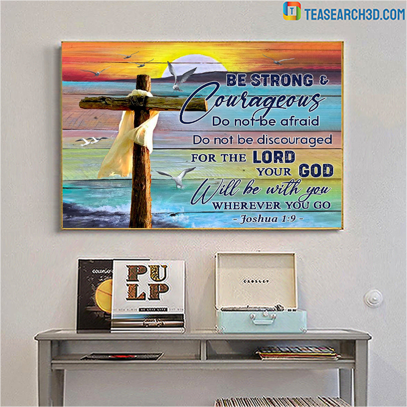 Christian beach be strong and courageous canvas large