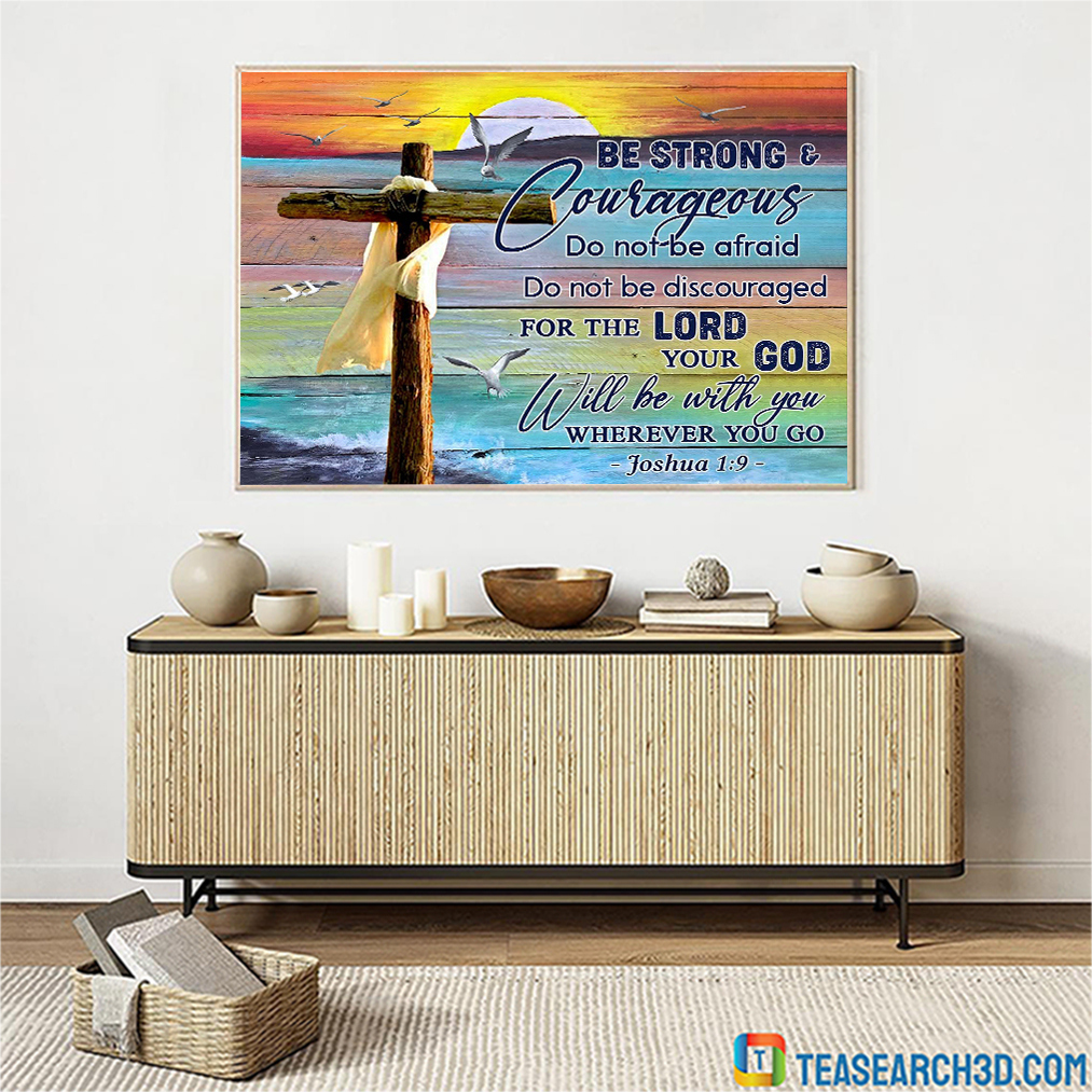 Christian beach be strong and courageous canvas