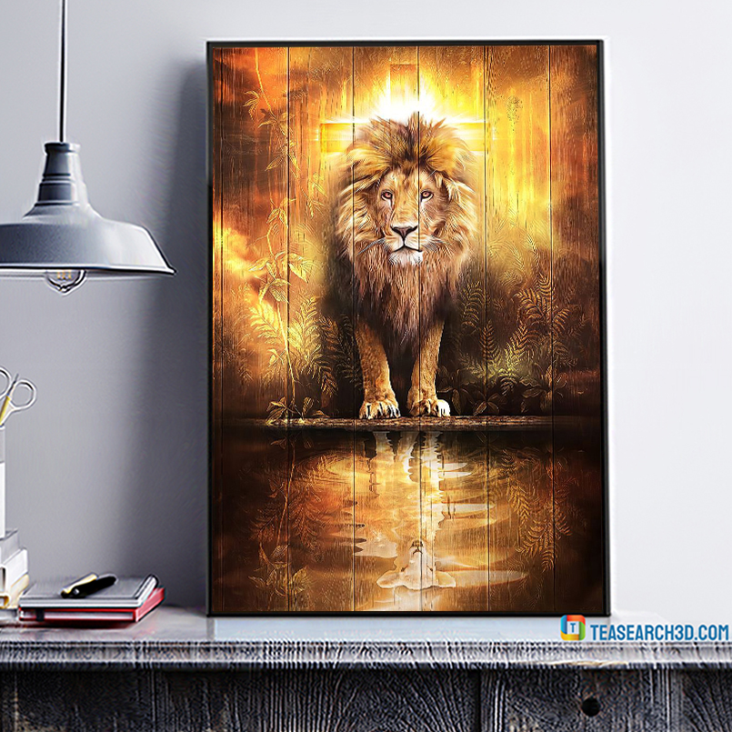 Christians are always strong lion and lamp poster A1