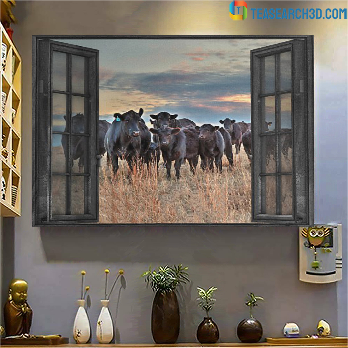 Cow by the window canvas large