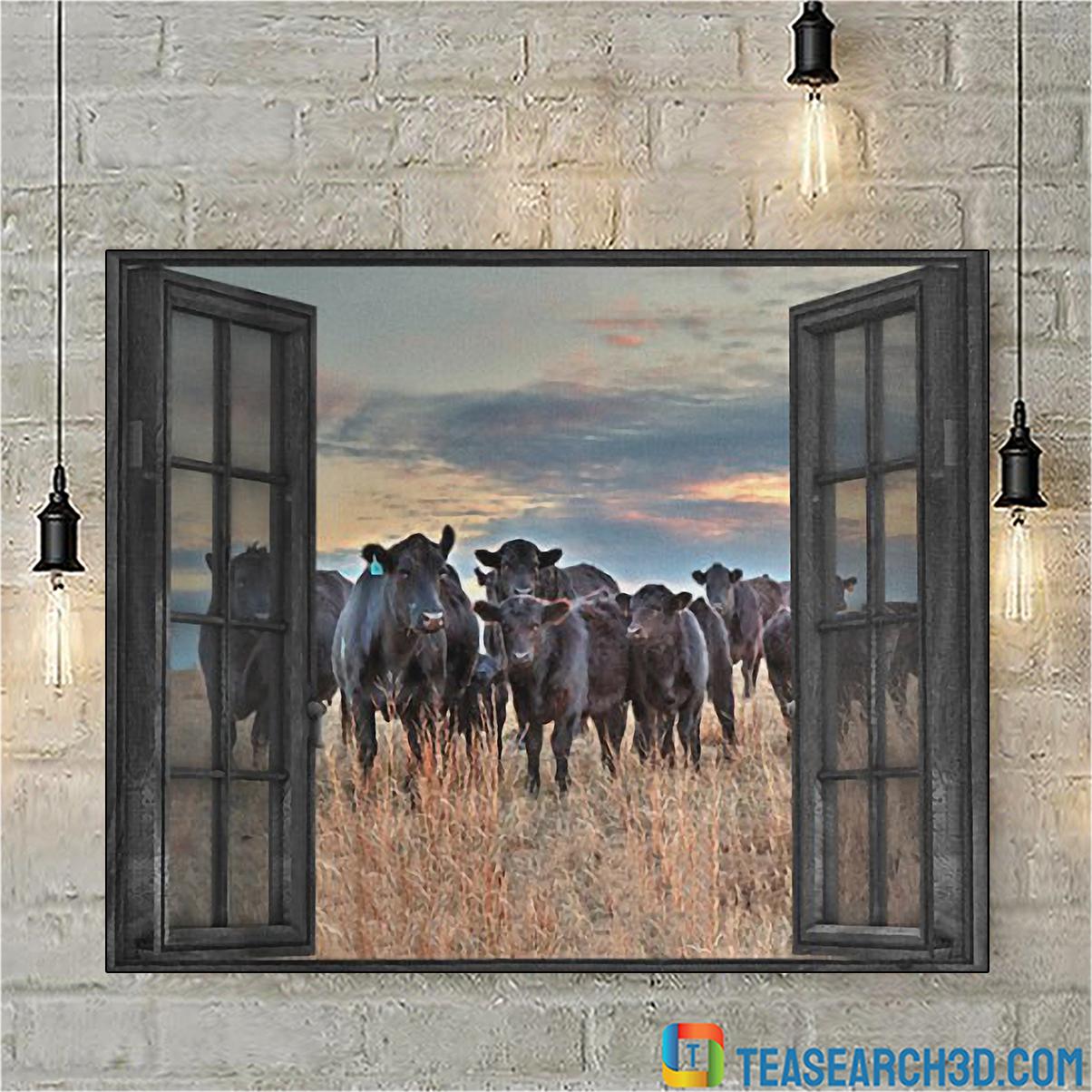 Cow by the window canvas medium