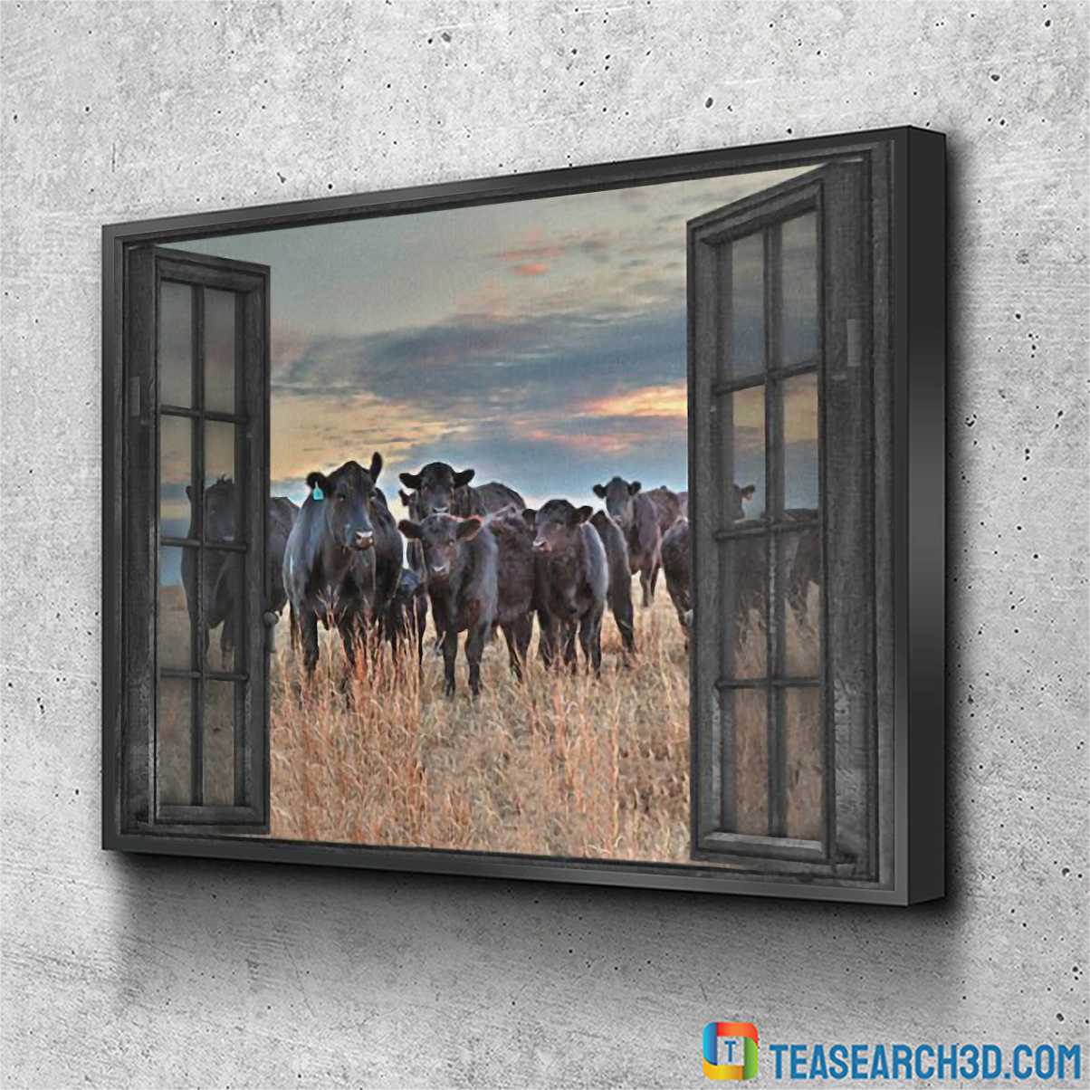 Cow by the window canvas small