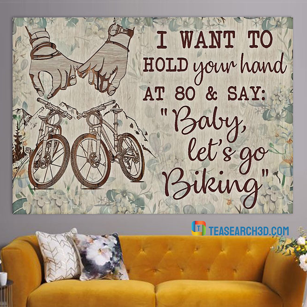 Cycling I want to hold your hand poster A3