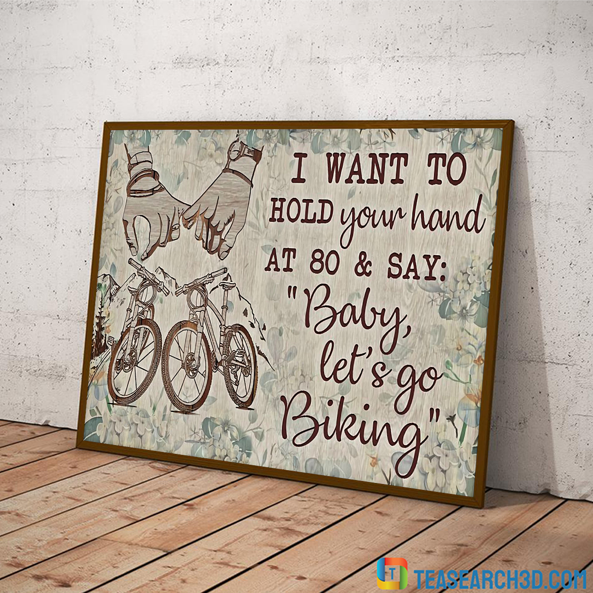 Cycling I want to hold your hand poster A4