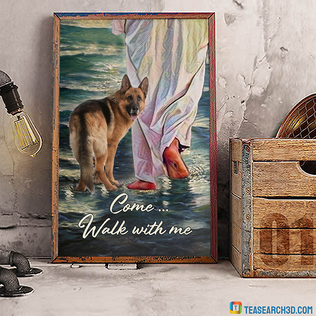 German shepherd come walk with me jesus poster A1