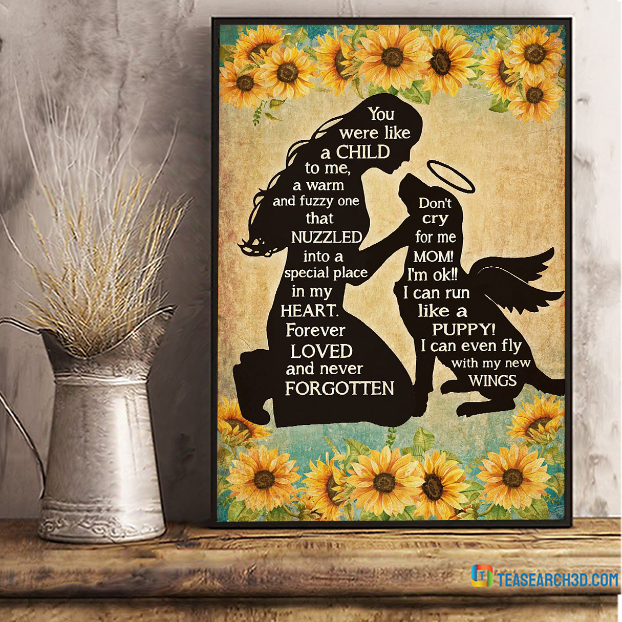 Girl and dog you were like a child to me poster A2