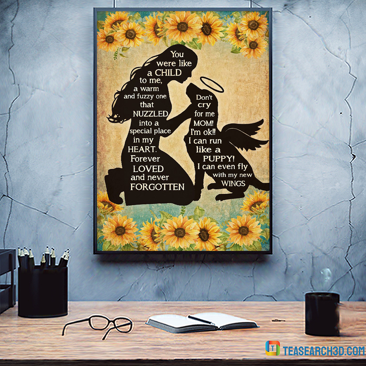 Girl and dog you were like a child to me poster A3