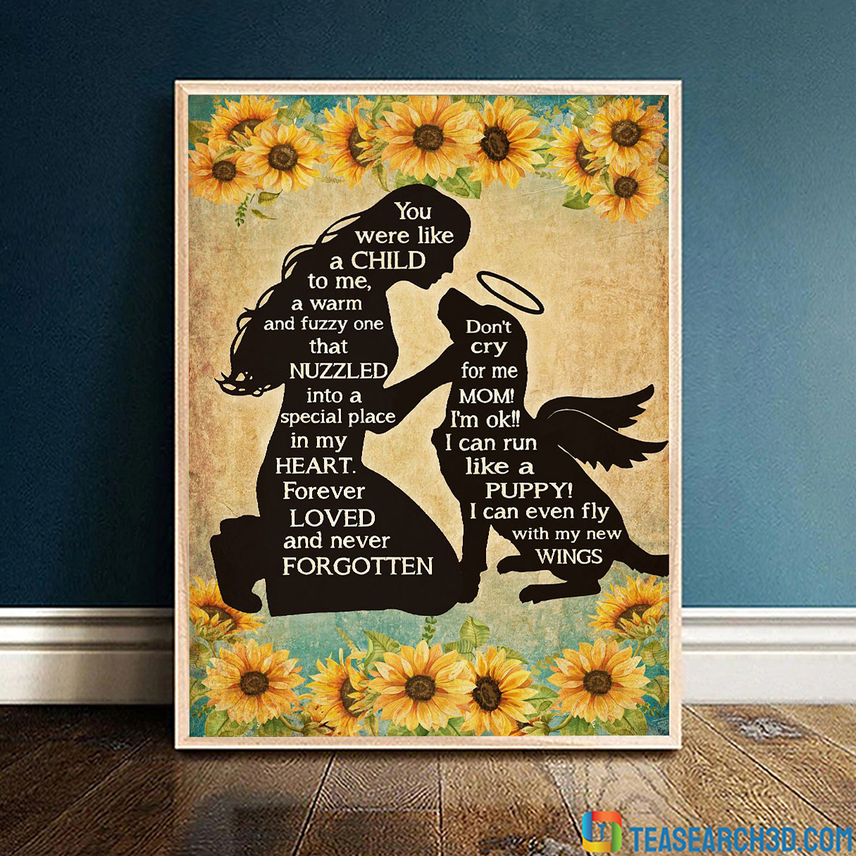 Girl and dog you were like a child to me poster A4