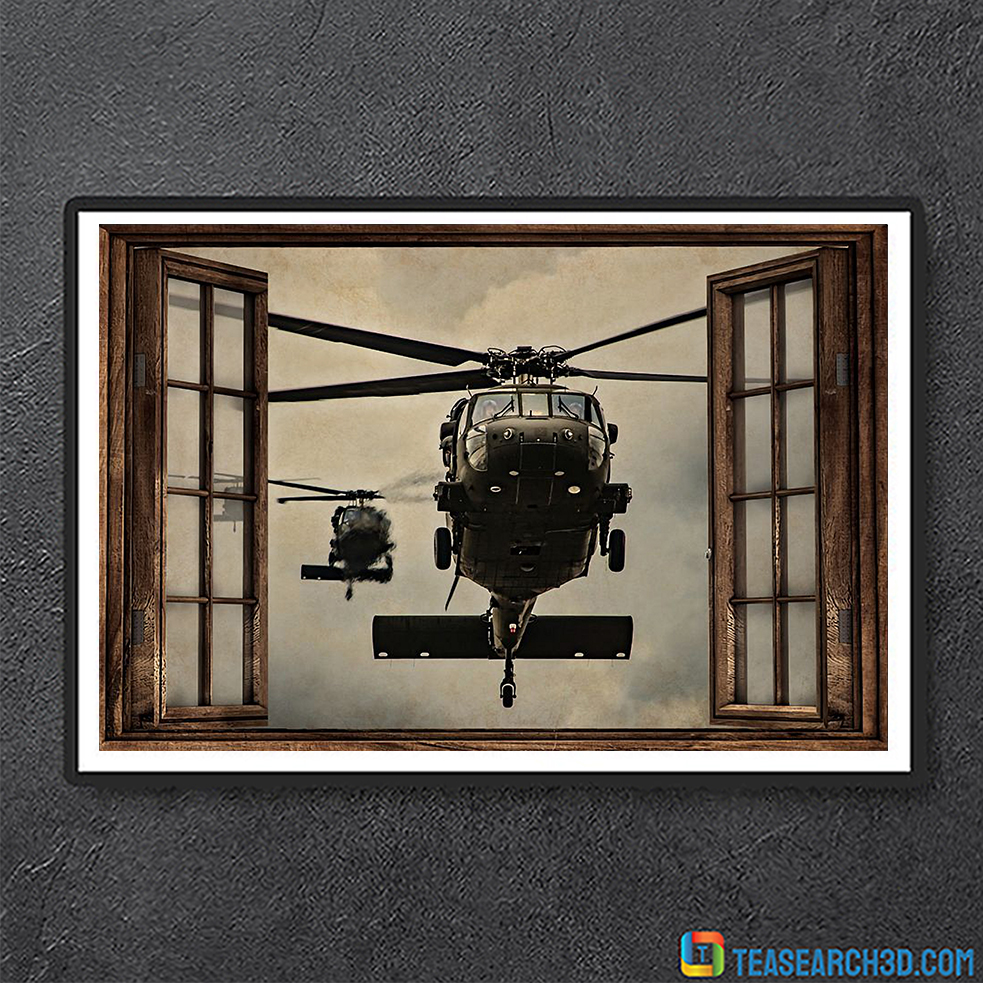 Helicopter window view poster A1