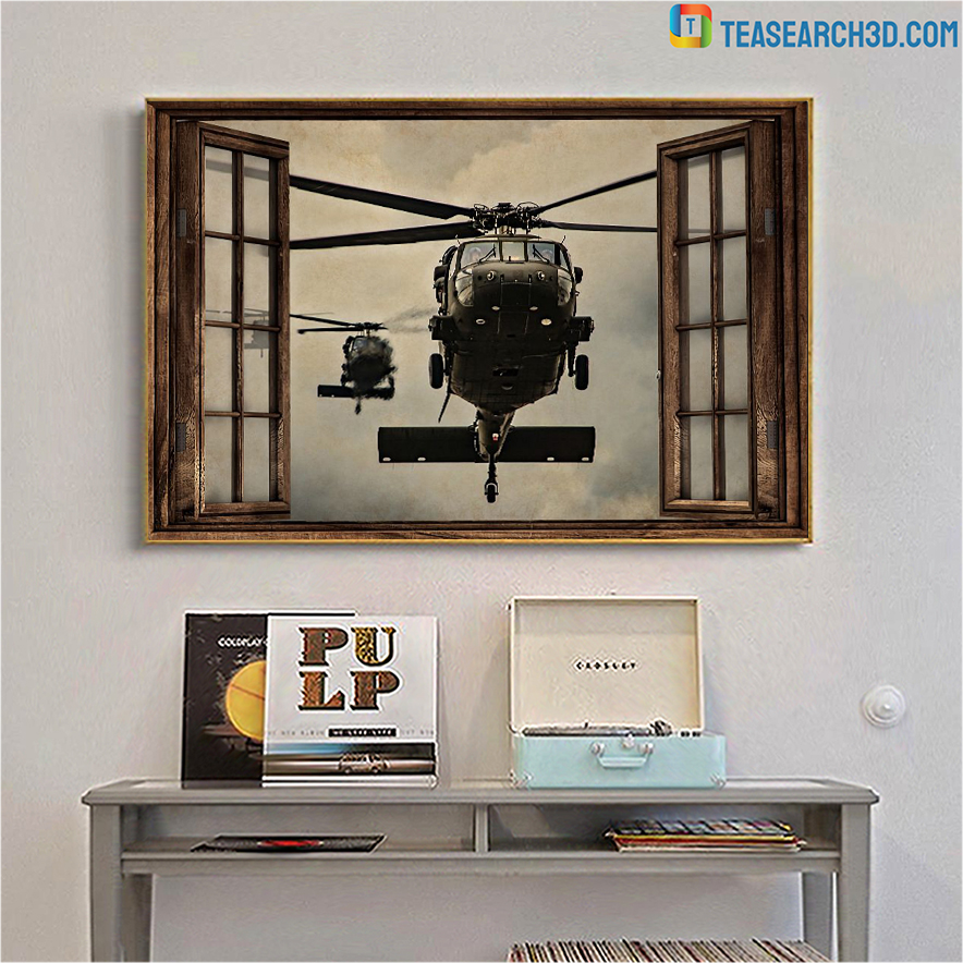 Helicopter window view poster A2