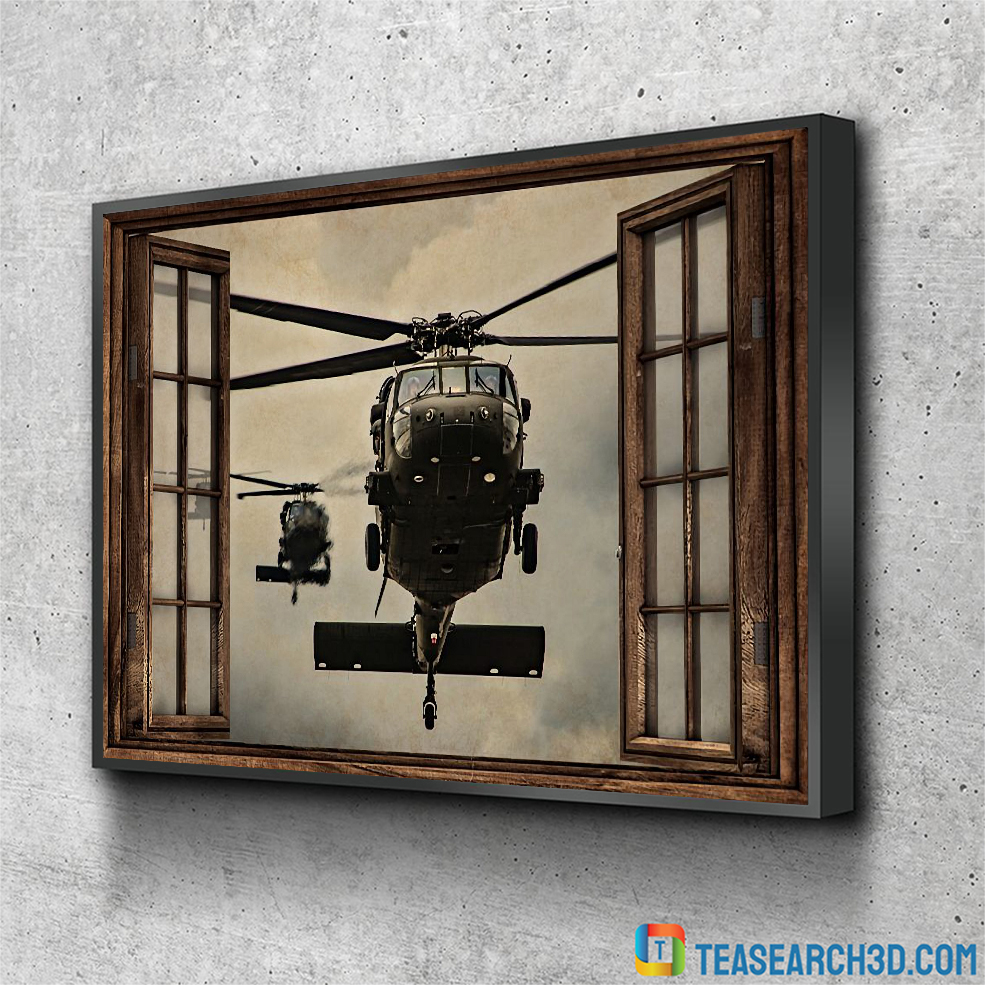 Helicopter window view poster A3