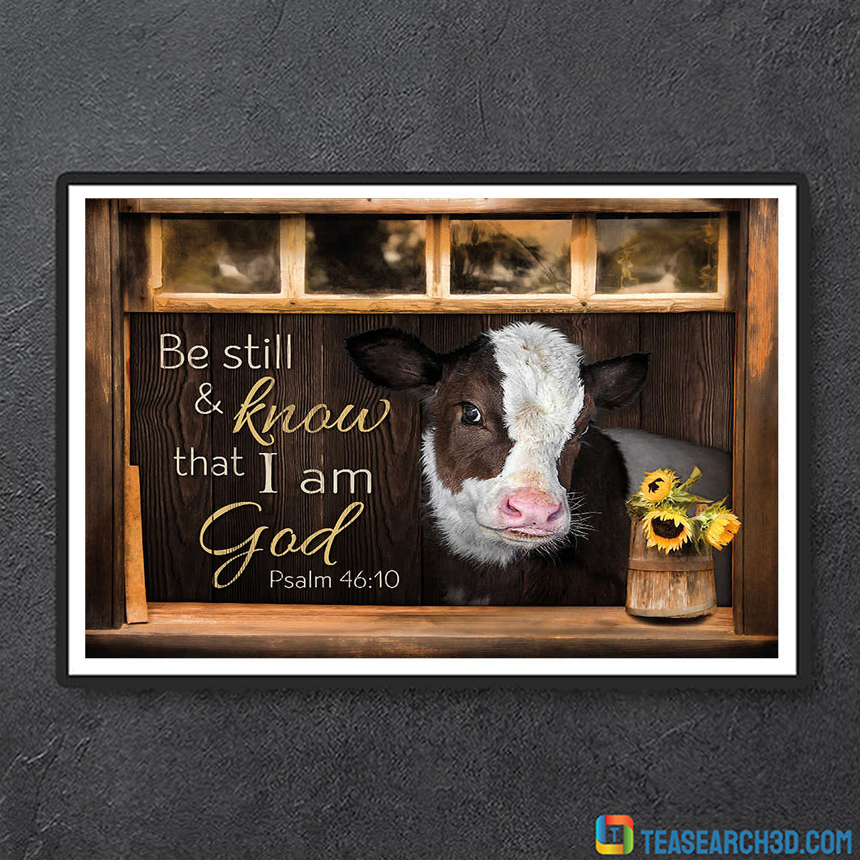 Hereford cattle be still and know that I am god canvas medium